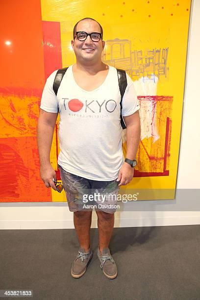 e781ccc2f74 Yaz Faradji wearing a tshirt by Scotch Soda customized shorts and a Y3  backpack attends Art