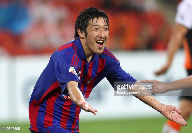 Yazawa Tatsuya of Tokyo celebrates after scoring a goal during the AFC Asian Champions League match between Brisbane Roar and FC Tokyo at Suncorp...