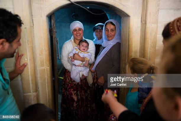 Yazidi infant baptism in Lalish, Iraq