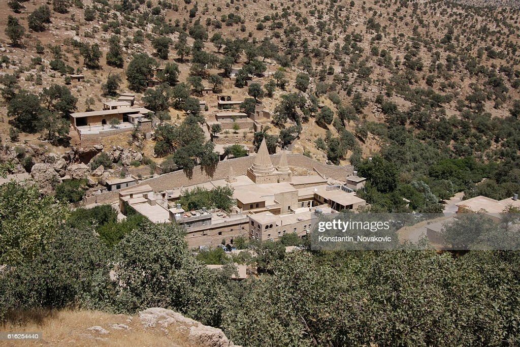 Yazidi temples in Lalish, Iraqi Kurdistan : Stock Photo