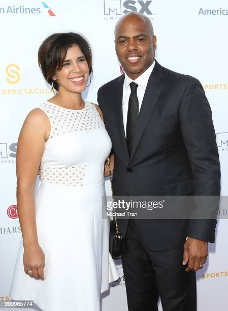 Yazmin Cader Frazier and Kevin Frazier arrive to the 33rd Annual CedarsSinai Sports Spectacular Gala held on July 15 2018 in Los Angeles California