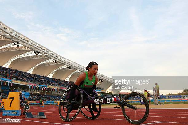 Yazmith Bataz of Mexico competes in the Women's 400M T54 during Day 2 of the 2011 Para Pan American Games at Telmex Stadium on November 14 2011 in...