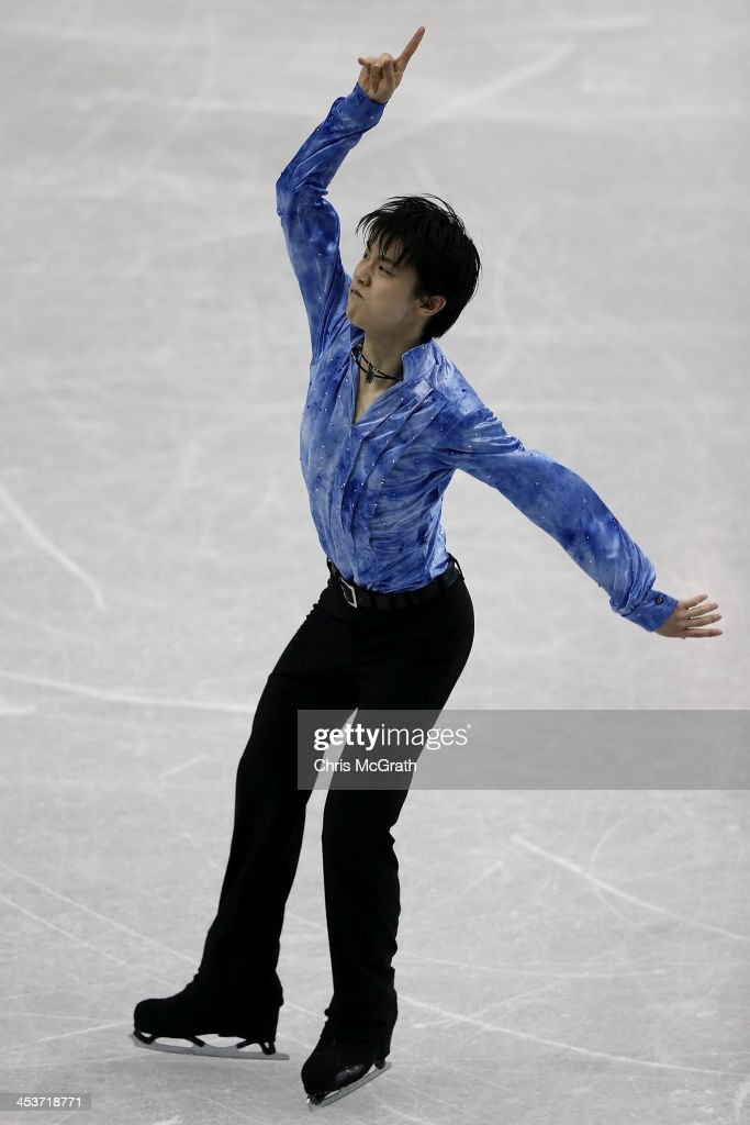Yazuru Hanyu of Japan competes in the Men's Short Program during day one of the ISU Grand Prix of Figure Skating Final 2013/2014 at Marine Messe Fukuoka on December 5, 2013 in Fukuoka, Japan.