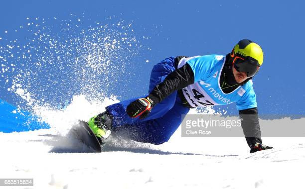 Ye Bi of China competes in the qualification of the Men's Parallel Slalom on day eight of the FIS Freestyle Ski and Snowboard World Championships...