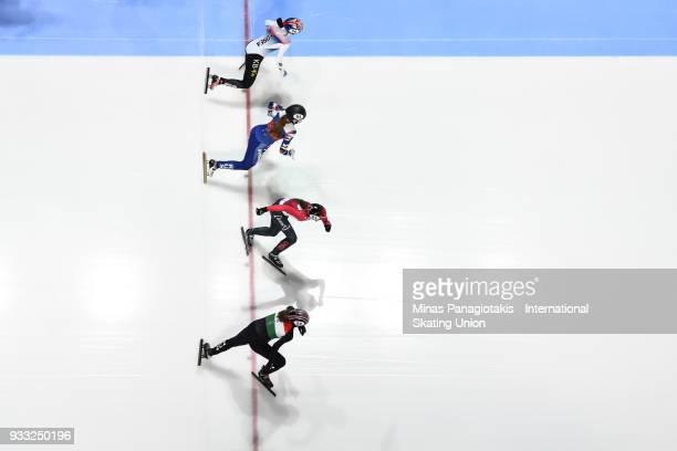 Ye Jin Kim of Korea Emina Malagich of Russia Kasandra Bradette of Canada and Zsofia Konya of Hungary compete in the women's 3000 meter semifinal...