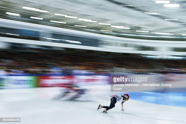 Ye Jin Kim of Korea leads the pack in the Ladies 1000m quarter final during day one of the ISU World Cup Short Track at Minsk Arena on February 11...