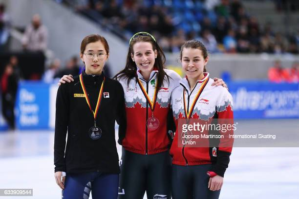 Ye Jin Kim of Korea Marianne StGelais of Canada and Jamie Mcdonald of Canada pose in the Ladies 500m medal ceremony during day two of the ISU World...