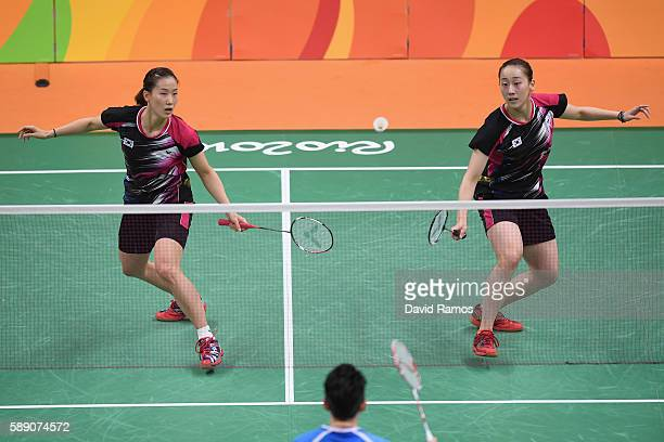 Ye Na Chang and So Hee Lee of Republic of Korea compete against Yu Yang and Yuanting Tang of China during the Women's Doubles Play Stage Group D...