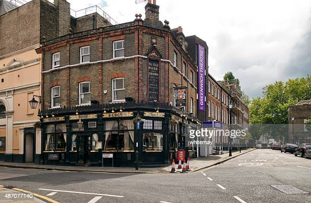 ye olde rose and crown pub and greenwich theatre - greenwich london stock pictures, royalty-free photos & images