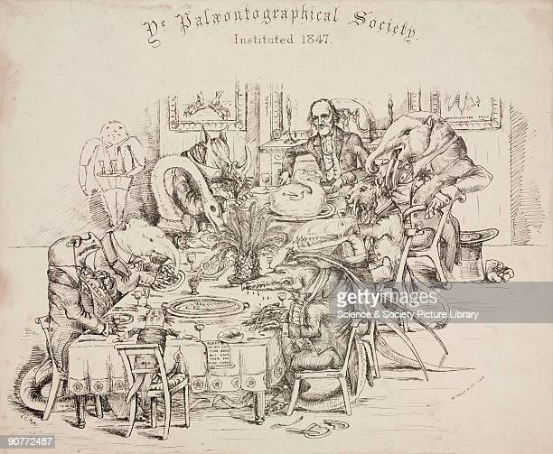 �Ye Paleontographical Society� engraving by E C Rye of a privately printed satire of Sir Richard Owen holding a dinner party for various dinosaurs of...