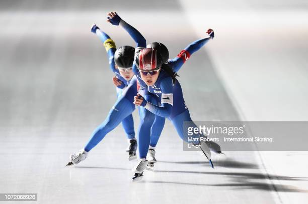 Ye Won Nan Min Sun Kim and HyunYung Kim of South Korea compete during the Women's Team Sprint on day three of the ISU World Cup Speed Skating at...