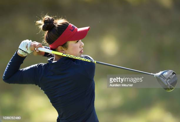 Yealimi Noh of Team USA plays a shot during the fourballs on day one of the 2018 Junior Ryder Cup at Disneyland Paris on September 24 2018 in Paris...
