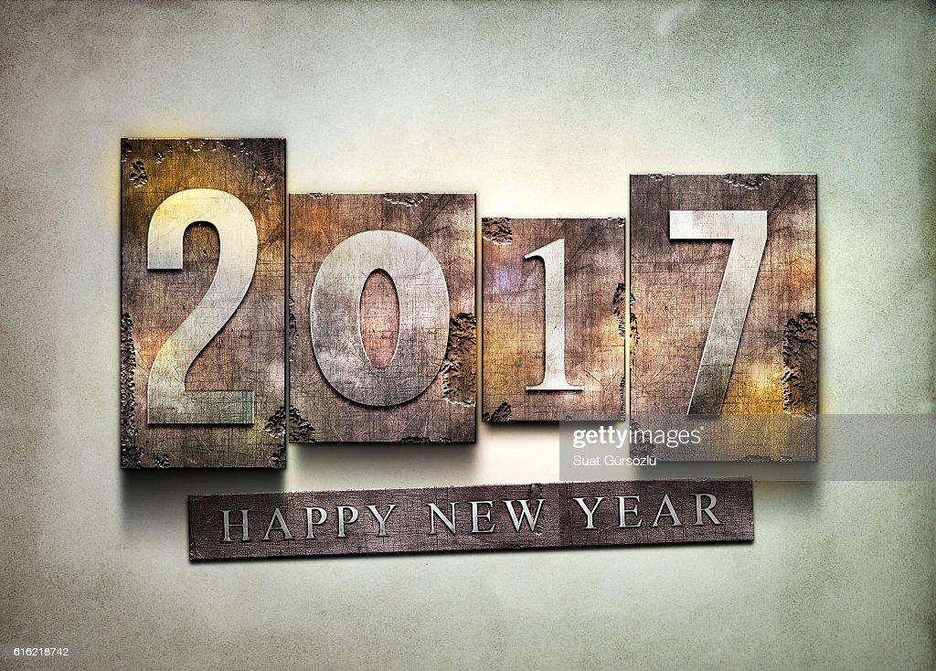 Year 2017 letterpress. : Bildbanksbilder