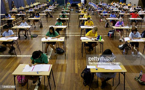 Year 6 students from various schools sitting the exam for entry into select high schools at Tempe High School in Sydney 13 March 2008