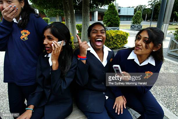 Year 9 commerce students from Liverpool Girls High pictured during lunch break while they attend the Youth Financial Literacy Forum Sonia Chand left...