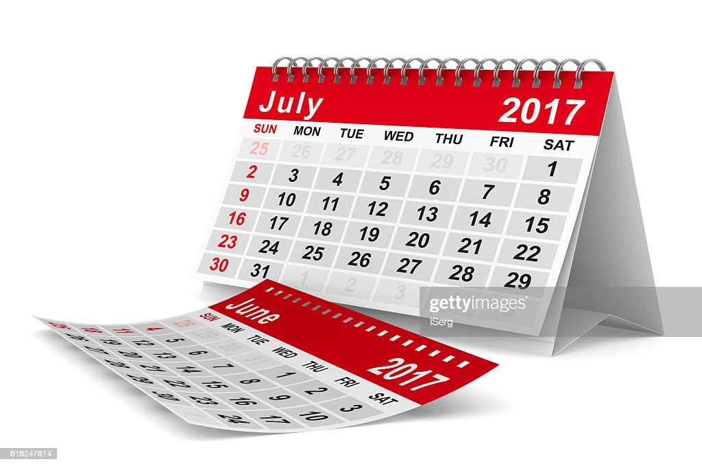 2017 year calendar. July. Isolated 3D image : Stock-Foto