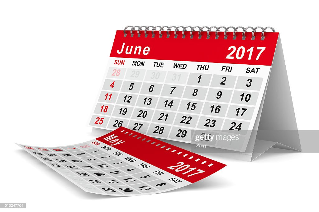 2017 year calendar. June. Isolated 3D image : Stock Photo