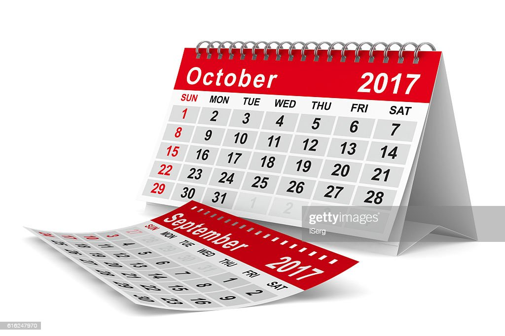 2017 year calendar. October. Isolated 3D image : Foto de stock