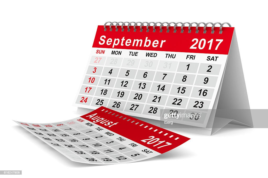 2017 year calendar. September. Isolated 3D image : Foto de stock