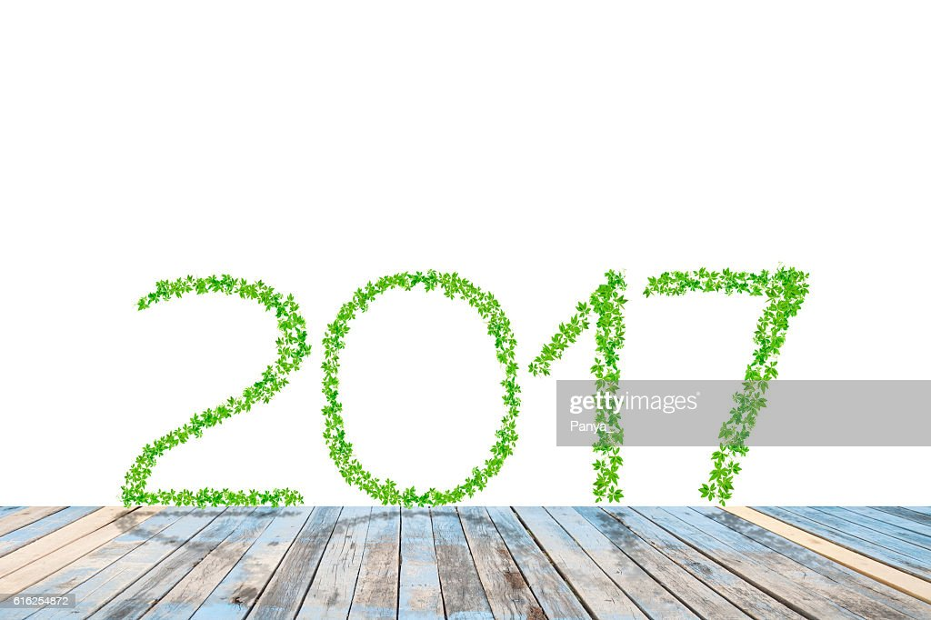 2017  year made from green leaves with perspective wood floor : Stock Photo