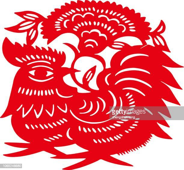 year of cock paper-cut - chinese language stock pictures, royalty-free photos & images