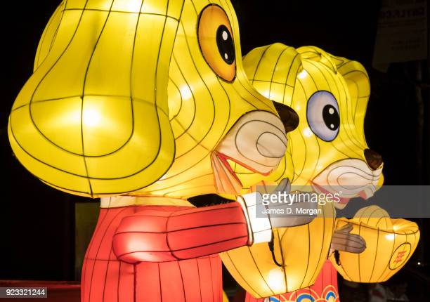 Year of the Dog lanterns during the opening of the Chinese New Year Lantern Festival at Tumbalong Park on February 23 2018 in Sydney Australia...