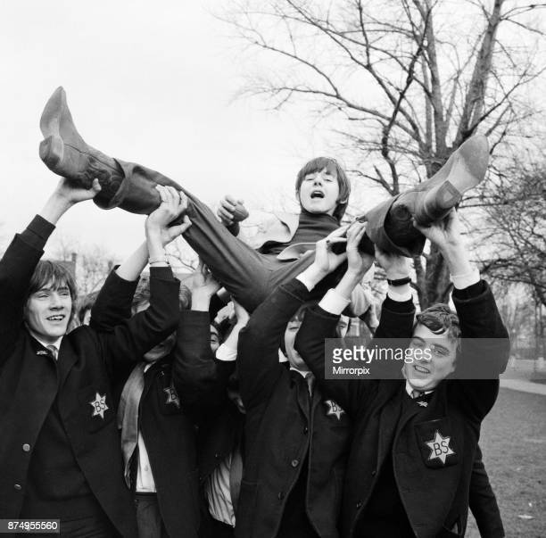 16 year old actor Jack Wild who played the role of the Artful Dodger in the 1968 Lionel Bart musical film Oliver Pictured visiting his schoolmates at...