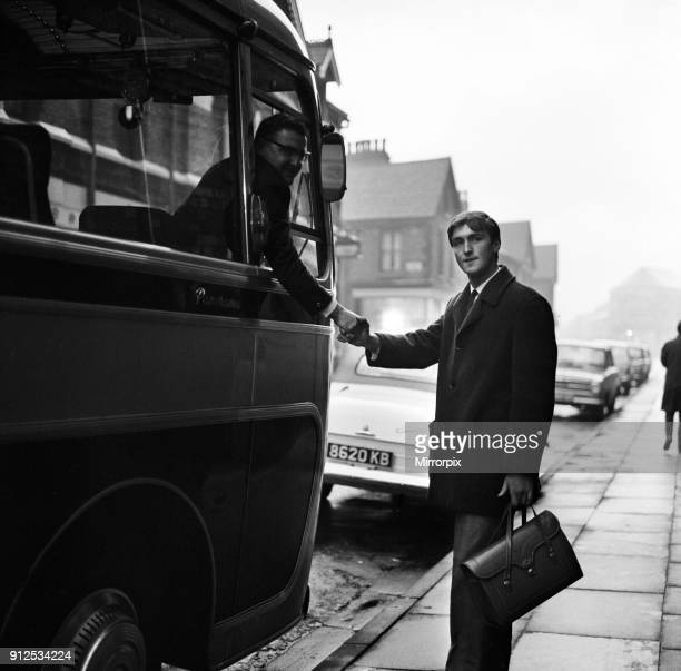 Year old Andy Rankin, who today takes over as Everton's £27,000 goalkeeper. Pictured before boarding the coach at Goodison Park, 16th November 1963.