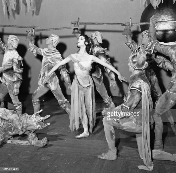 21 year old ballet dancer Georgina Parkinson on stage surrounded by knights at the Royal Opera House in Covent Garden during rehearsals for the...