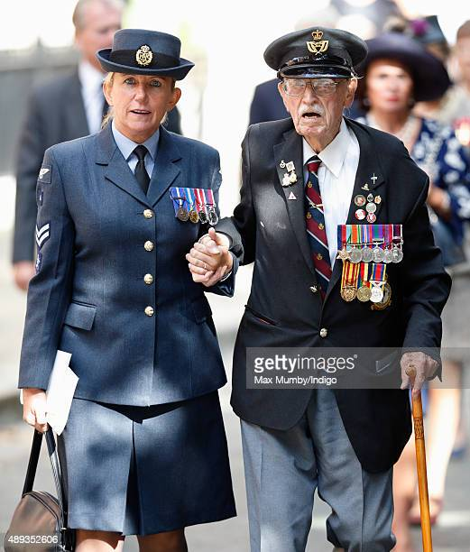 94 year old Battle of Britain and Dunkirk Veteran Arthur Taylor is escorted to Church House to watch a flypast of Spitfire and Hurricane aircraft...