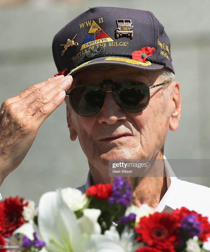 88 year old Battle of the Bulge veteran Harry Miller attends a D-Day anniversary wreath laying ceremony at the National World War II Memorial on June 6, 2016 in Washington, DC. Today marks the the 72nd anniversary of the 1944 Allied invasion at Normandy.