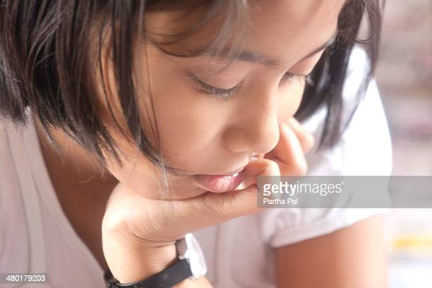 ( year old bengali girl,thinking - bengali girl stock photos and pictures