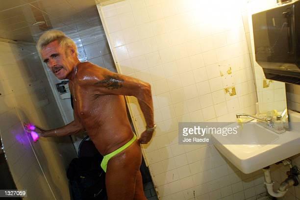 60 year old Bernie Barker adjusts his Gstring as he prepares himself July 16 2001 to compete against other amateur strippers at Club LaBare a North...