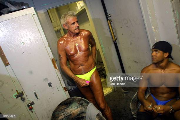 60 year old Bernie Barker prepares himself July 16 2001 to compete against other amateur strippers at Club LaBare a North Miami Beach FL ladies club...