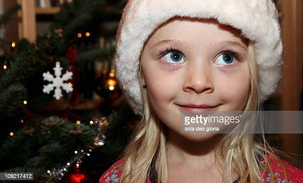 5 year old blond girl longing for christmas