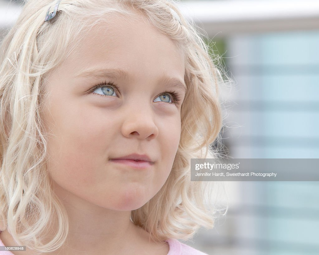 6 year old blue-eyed, blonde girl : Stock Photo