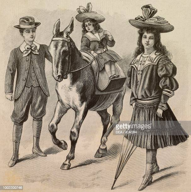 A 1214 year old boy in a jacket and knickerbocker trousers a 24 year old girl in a seafaring dress a 911 yearold girl in a hat dress with dress a...