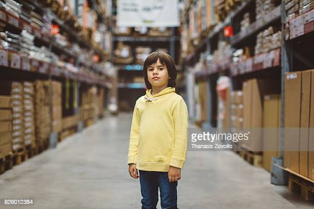 5 year old boy in a store