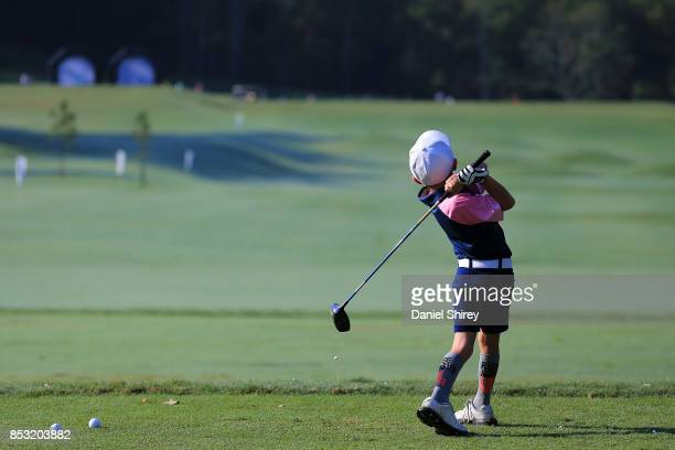 A 79 year old boy on the driving range during the Drive Chip and Putt Championship at The Honors Course on September 24 2017 in Ooltewah Tennessee