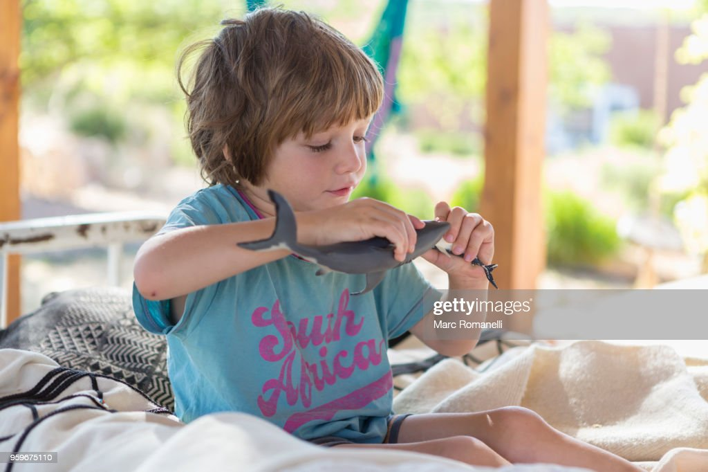 4 year old boy playing with toy shark : Stock-Foto