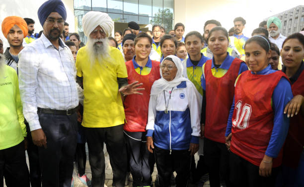 107 year old British Sikh marathon runner Fauja Singh and 102 years old Marathoner Mann Kaur addressing to the Students before the short marathon...