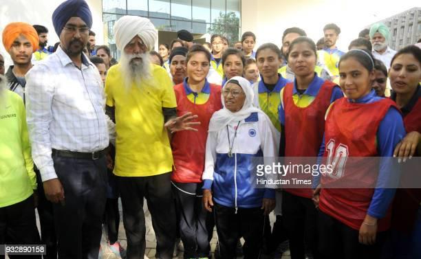 107 year old British Sikh marathon runner Fauja Singh and 102 years old Marathoner Mann Kaur addressing to the Students before the short marathon...