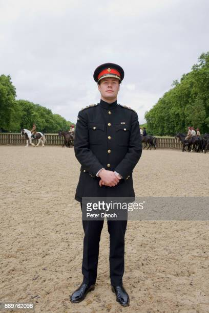28 year old Captain Ed Olver on the exercise paddock in Hyde Park Olver is regiment adjutant and grandson of a distinguished Spitfire PilotThe...