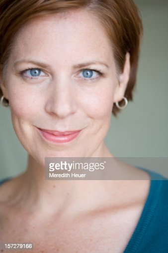 40 Year Old Caucasian Woman Smiling Stock Photo Getty Images
