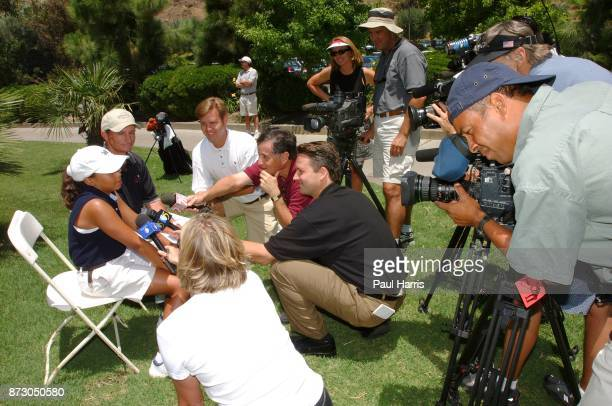 10 year old Cheyenne Woods niece of Golfer Tiger Woods faces the press at a junior golf tournament at The Singing Hills Resort on on July 16 2001 in...