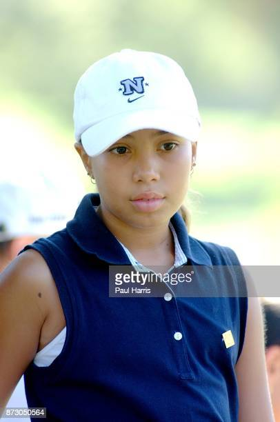 10 year old Cheyenne Woods niece of Golfer Tiger Woods takes part in a junior golf tournament at The Singing Hills Resort on on July 16 2001 in El...
