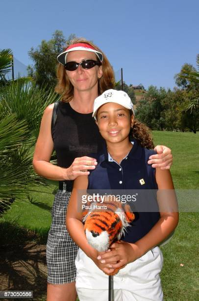 10 year old Cheyenne Woods niece of Golfer Tiger Woods with her mother Susan Woods at a junior golf tournament at The Singing Hills Resort on on July...