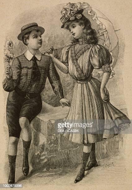 A 1012 year old child in short trousers and shirt a 1113 year old girl in a dress and hat engraving from La Mode Illustree No 19 May 12 1907