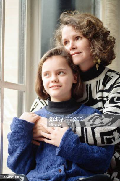 11 year old Christina Ricci junior star in the blockbuster movie 'The Addams Family' with her mother Sarah 9th December 1991