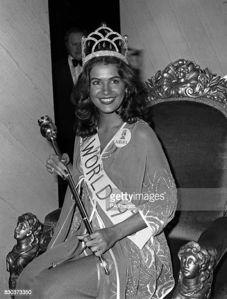 21 year old Cindy Breakspeare Miss Jamaica is enthroned at the Royal Albert Hall in London after winning the 1976 Miss World beauty contest